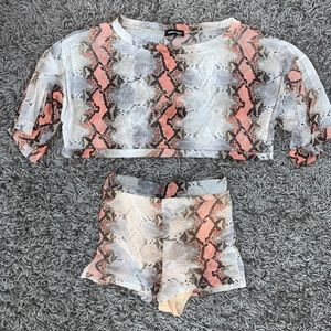 Fashion Queen Other - Sheer Snake Print Crop Top and Short 2 Piece Set.